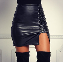 Wholesale Classic Women S Wear - Sexy Clubwear Women Mini Pencil Tight Short Skirts Work Wear Black Faux Leather Lace up Bodycon Skirt Casual Classic Skirt Jupe