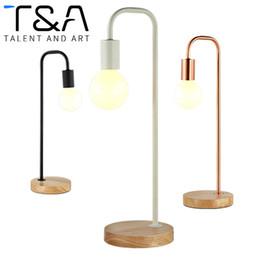 Wholesale Touch Lamps For Bedside Table - Modern Table Lamp Wooden Desk Lamp Lights Table Lighting E27 Holder Bedside Lamparas For Study Room Bedroom Decor Lighting