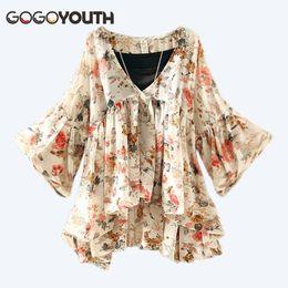 Camisa coreana on-line-Gogoyouth Lanterna Manga Mulheres Tops E Blusas 2018 Verão Nova Moda Chiffon Pluse Tamanho Camisa Feminina Coreano Chemise Femme