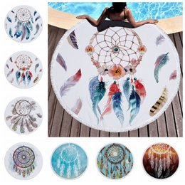 Wholesale beach dreams - 150cm Dreamcatcher Microfiber Tassel Beach Yoga Towels Round Tapestry Wind Chime Dream Catcher Swimming Feather Towel Kids Blanket AAA721