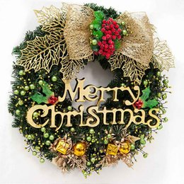 Wholesale merry christmas wreath - 40 cm Merry Christmas Wreath Garland Window wall Door Decorations Bowknot Ornament Hot Christmas decorations for home 2017
