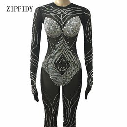 Wholesale Zebra Jumpsuit Women - Black Mesh Sparkly Crystals Bodysuit Sexy Leggings Headpiece Costume Dance Performance Wear Female Singer Stage Jumpsuit