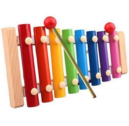 Xilofones de madeira on-line-Atacado Aprendizagem Educação Xilofone De Madeira Para Crianças Kid Brinquedos Musicais Xilofone Sabedoria Juguetes 8-Nota Instrumento de Música