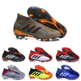 Wholesale high ankle boots for men - Mens High Ankle Youth Football Boots Predator 18+x Pogba FG Accelerator DB Kids Soccer Shoes PureControl Purechaos Soccer Cleats for women