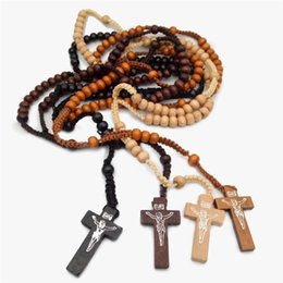 Wholesale Wood Crosses Necklaces - 10pcs lot Peru Wood Necklace Religious Rosary Cross Necklace Our Lady of Mary Virgin Mary Necklace Many Colors
