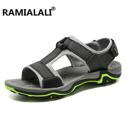 Wholesale Real Injection - Ramialali Breathable Men Sandals Shoes Real Leather Sandals Men Beach Non Slip Beach Summer Slippers for Big Size 45