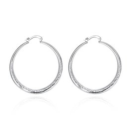 Wholesale girl huge - 40mm New Fashion Jewelry Huge Hoop Earring Sets Silver Color Round Hoop Earrings For Women Girl Wholesale