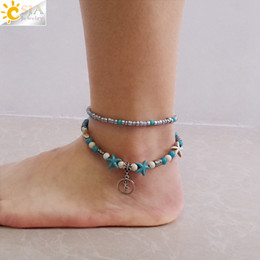 af005f7db90 CSJA Foot Jewelry for Women 2 Layers Ankle Bracelets Yoga Symbol Anklet  with Starfish Silver Charms Beaded Beach Jewellery Girlfriend F676