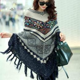 Wholesale Oversized Sweater Free Shipping - Free shipping New Fashion 2017 Autumn Winter Women Oversized Wool Pullovers Sweaters Bat Sleeve shawl poncho