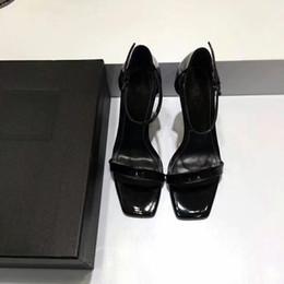 Wholesale custom sheepskin - new Custom made Top quality Sheepskin inside luxury designer Black Patent Leather Thrill Heel Pumps Women Tribute Leather Sandals trend