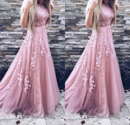 Wholesale Tulle Sash Belt - 2018 Long Prom Dresses A Line Appliques Lace Sleeveless With Belt Blush Pink Formal Evening Gowns Prom Dress Party dress