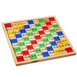 Tavolo per moltiplicazione Giocattolo per la matematica 9x9 Cartoncino con motivo a doppio lato Cartone animato in legno colorato per bambini Giocattolo educativo DHL gratuito da generatori di potenza all'ingrosso fornitori
