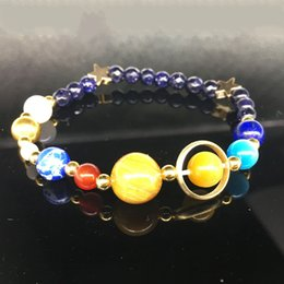 Wholesale Galaxy Systems - Colorful Yoga Beaded Bracelet Galaxy Solar System Eight Planetary Bracelets Natural Stone Star Strands 2018 Jewelry Wholesalw Free Shipping
