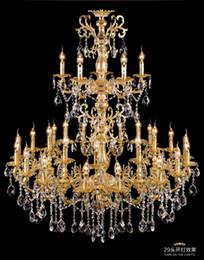 gran araña de cristal vintage Rebajas Proyecto Antique 29-head Gold led chandelier crystal droplight llor foyer hotel grande vintage vela araña lustre de iluminación