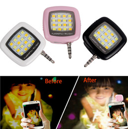 Wholesale Android Camera Flash - Cell Phone Camera Fill Light Smartphone LED Flash Fill Light 16 Leds Portable 3.5mm For iPhone IOS Android Adjustable Brightness