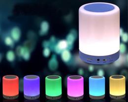 7 Couleur Nuit Lumière Bluetooth Haut-parleurs Portable Sans Fil Musique Haut-Parleur Smart Touch Contrôle Couleur LED Table de Chevet Lampe Haut-Parleur TF Carte ? partir de fabricateur