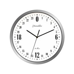 Wholesale Metal Clock Dials - Newest 24 Hour Dial Design 12 Inches Metal Frame Modern Fashion Decorative Round Wall clock