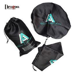 Wholesale Bedding Sets Satin - Custom logo lipstick packing satin bags, 100% Virgin hair bundle extensions, satin silk bonnet sets. Jewelry packaging silk bags