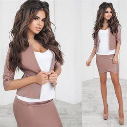 3b048ac166e Tapakva PU Leather 2 Pieces Set Women Mid Sleeve Crop Top Slim Mini Skirts  Suit Female Mini Dress bodycon skirt OL tracksuit