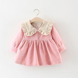 2019 faldas lolita dulce Vestidos de niña otoño nueva moda femenina bebé dulce pana falda una generación de niñas vestido V 001 faldas lolita dulce baratos