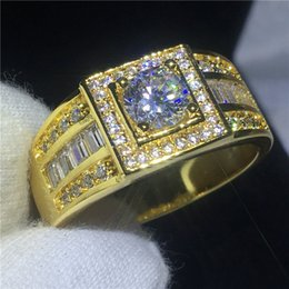 Wholesale Cz Solitaire - 2018 Solitaire Male ring 10KT Yellow Gold Filled Engagement wedding bands rings for men gs for women men Pave setting AAAAA zircon cz Bijoux