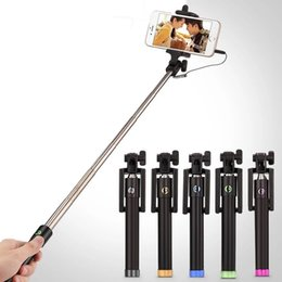 Wholesale Mini Smartphones - Mini Selfie Stick Selfy Handheld Extended WIRED Monopod Portrait Taker and Video Recorder UNIVERSAL FIT with IOS and Android Smartphones