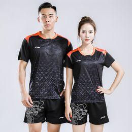 Wholesale Grey Women Suits - Li Ning 2018 men and women badminton sportwear t-shirt,Chinese dragon suit,lining badminton suits shirts + shorts,table tennis jersey