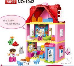 Wholesale large toy bricks - 78pcs Pink Village House Girls Big Building Blocks Set Kids DIY Bricks Model Toys For Children Compatible Large Size Blocks