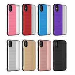 pocket fold cards wholesale Promo Codes - Folding Card Pocket For Iphone XS MAX X 10 8 7 Plus 6 6S ID Card Box Hard Plastic+Soft TPU Case 2 in 1 Hybrid Luxury Holder PC Phone Covers