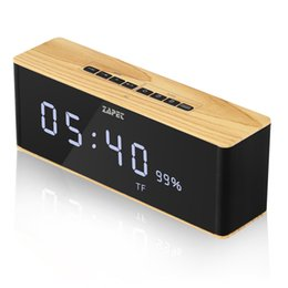 Wholesale docking music - ZAPET Speaker Portable Bluetooth Speaker Wireless Stereo Music Soundbox with LED Time Display Clock Alarm Loudspeaker