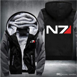 Sweat-shirt à effet massif n7 en Ligne-Seulement éléphant devrait États-Unis taille hommes Mass Effect N7 Zipper Veste Sweatshirts Épaissir À Capuche Manteau Vêtements Casual -AH