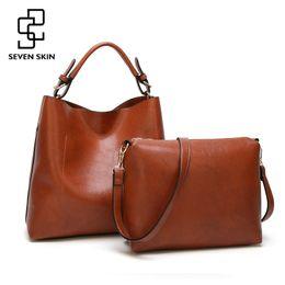 Wholesale Bucket S - Seven Skin 2017 New 2pcs Composite Bag Women Solid Leather Shoulder Bags Women 'S Casual Tote Bag Designer Female Bucket Handbags