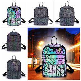 Wholesale Sequin Fold - Luminous Backpacks Girl Daily Backpack Geometry Sequins Folding School Bags Geometric Shoulder Bag Hologram Student Bag 5pcs LJJO4538