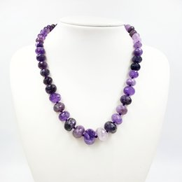 Regali unici viola online-LiiJi Unique Natural REAL Purple Amethysts Abacus Shape Beads Approx5x8mm-12x18mm Collana girocollo moda 48 cm Bel regalo per feste
