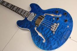 Cuerda de guitarra bajo hueco online-Envío gratis venta al por mayor nueva llegada 4 cuerdas Jazz guitarra eléctrica bajo Semi hueco Bass In Blue 120318