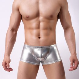 f30c5ea97b83 Faux Leather Boxer Shorts Mens Sexy Underwear Boxers Short Trunks Cool Male  Erotic Underwear Underpants Black Silver Golden
