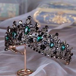 Canada Main De Luxe Baroque Mariée Couronne Tiara Noir Vert Cristal Headpieces Soirée Accessoires De Cheveux Pour Les Mariées Gothique De Mariée Offre