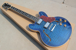 Wholesale hollow body electric guitar 335 - Square Headstock Trans Blue Quilted Maple Top Hollow 335 Jazz Electric Guitar Natrual Quilted Maple Back & Side, Red Turtle Shell Pickguard