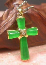 Collana verde pendente di giada online-Piatto d'oro ICY verde JADE pendente Gesù croce collana diamante imitazione