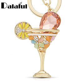Wholesale Glasses For Red Wine - New Creative Wine Glass Cup Lemon Goblet Key Ring Chains Holder Crystal Bag Buckle Pendant For Car Keyrings KeyChains K305