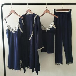 Wholesale Woman Elegant Pajamas - Sleepwear Sexy Lace Women Pyjamas Silk Pajamas for Women Pijama Elegant Spring Sleepwear Female High Quality Satin Pajama 4P