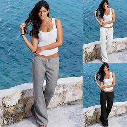 Wholesale Black Leggings Pockets - Women Wide Leg High Waist Loose Casual Long Pants String Pocket Trousers Leggings Trouser Pajama Pants LJJO4142