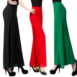 1b484f67976b High Quality Solid Chiffon Double deck Long Pants Women's Dance Trousers  Cross Pants Plus Size 5XL OL Casual Wide Leg
