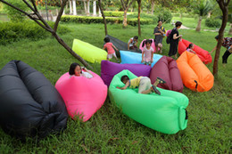 Wholesale Lazy Sofa Chair - Lounge Sleep Bag Lazy Inflatable Beanbag Sofa Chair Living Room Bean Bag Cushion Outdoor Self Inflated Beanbag Furniture sleeping bed