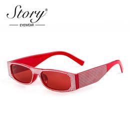 b504180818627 HISTÓRIA Retângulo Do Vintage Strass Óculos De Sol Das Mulheres Designer De Marca  Pequeno Quadro de Diamante Óculos De Sol Retro Óculos Óculos Estreitos