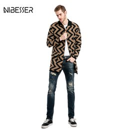 Wholesale Trench Coat Big Man - Wholesale- 2017 NIBESSER Single-breasted Trench Men Wavy pattern Long Sleeve Trench Coat Men Big Pocket Solid Collar Casual Men Trench