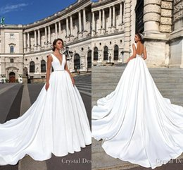 Wholesale elegant beaded satin wedding dress - 2018 Elegant Designer Backless Wedding Dresses Cheap Deep V Neck Sweep Train Satin Wedding Dress with Beaded Sash Custom Made Bridal Gowns