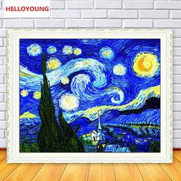 крутые картины абстрактного искусства Скидка DIY 5D полный алмазов мозаика алмазов вышивка Ван Гога sky квадратный Алмаз живопись вышивки крестом комплекты украшения дома