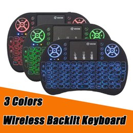 Wholesale Mini Bluetooth Keyboard Touchpad Android - 3 Colors Backlit Wireless Keyboard 2.4G Rii i8 Fly Air Mouse Bluetooth Remote Control Touchpad for Android Tv BOX S912 MXQ Pro X96 mini