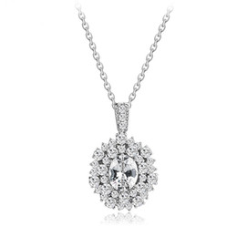 Wholesale Brass Christmas Ornaments - Europe and the United States high-end jewelry AAA zircon necklace Korean fashion simple crystal ornaments Factory direct women